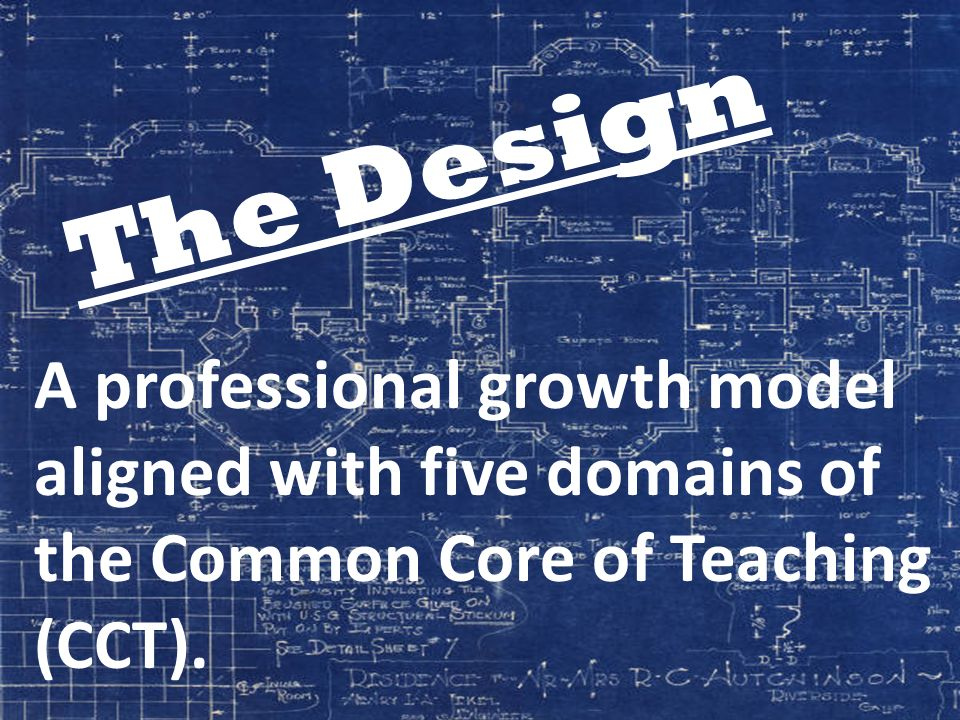 A professional growth model aligned with five domains of the Common Core of Teaching (CCT). The Design