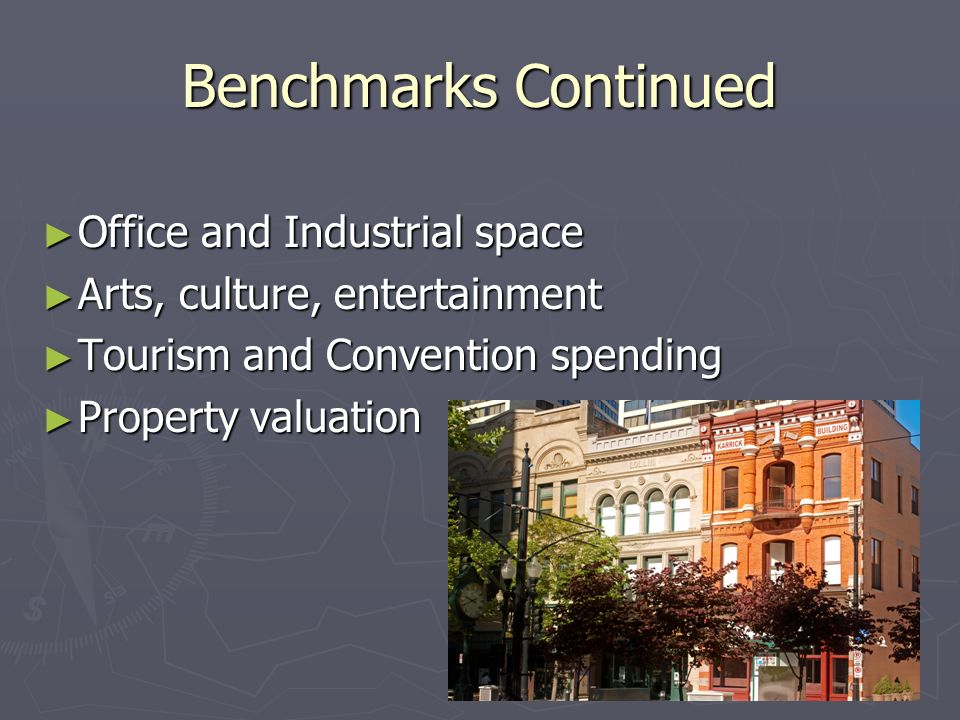 Benchmarks Continued Office and Industrial space Office and Industrial space Arts, culture, entertainment Arts, culture, entertainment Tourism and Convention spending Tourism and Convention spending Property valuation Property valuation