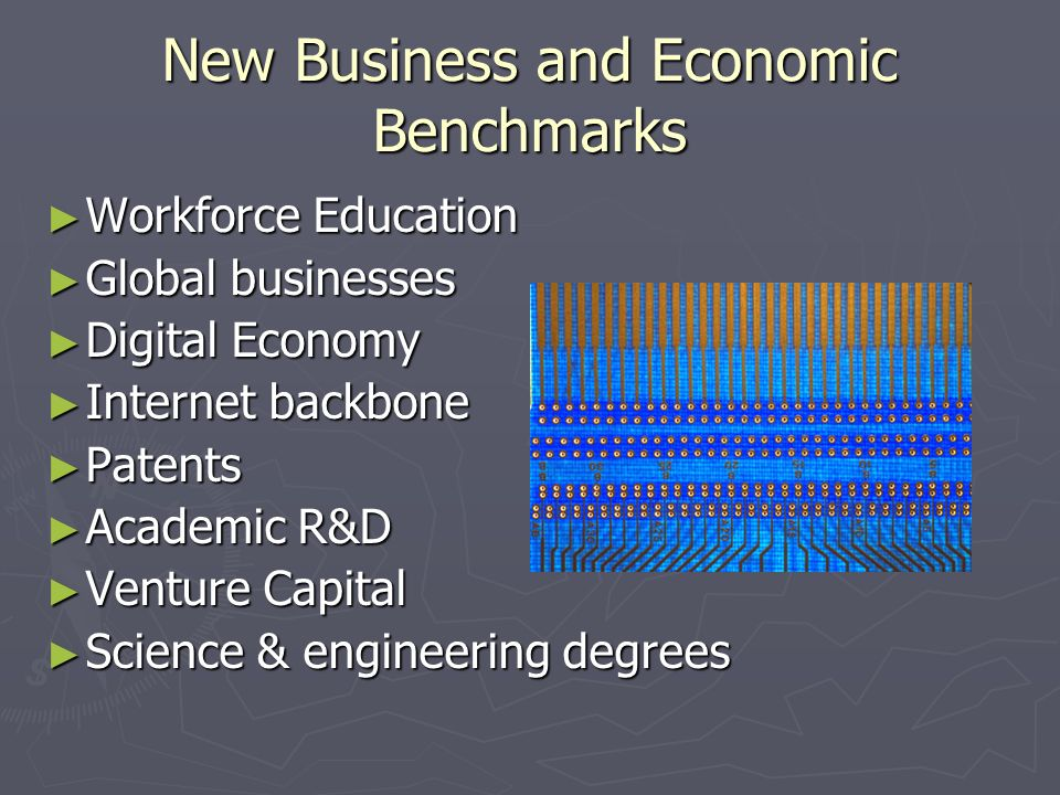 New Business and Economic Benchmarks Workforce Education Workforce Education Global businesses Global businesses Digital Economy Digital Economy Internet backbone Internet backbone Patents Patents Academic R&D Academic R&D Venture Capital Venture Capital Science & engineering degrees Science & engineering degrees
