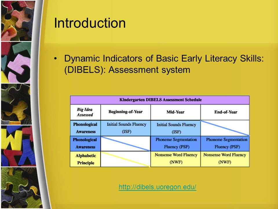 Introduction Dynamic Indicators of Basic Early Literacy Skills: (DIBELS): Assessment system