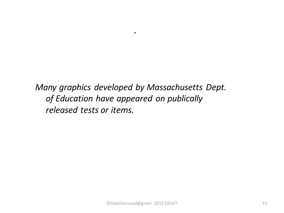 Many graphics developed by Massachusetts Dept. of Education have appeared on publically released tests or items.. ©thebillatwood@gmail 2013 DRAFT11