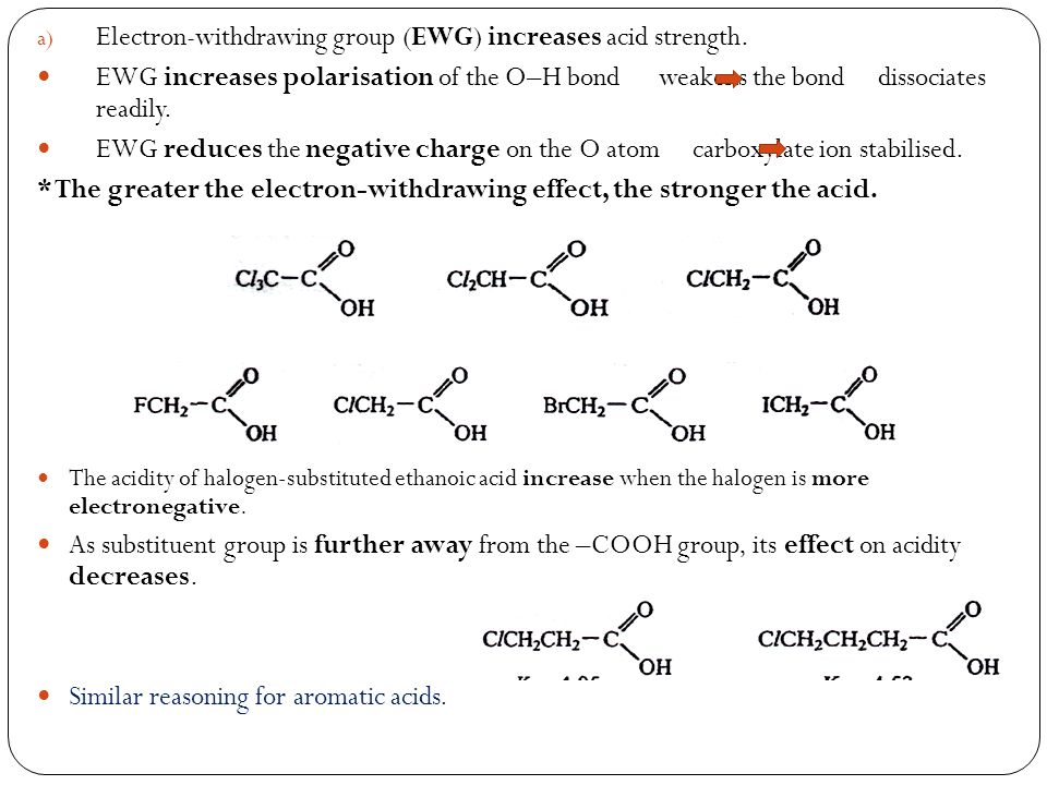 a) Electron-withdrawing group (EWG) increases acid strength.