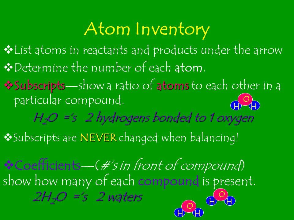 2 H 2 molecules produce 2 H 2 O molecules 1 O 2 molecule produces 2 H 2 O molecules 2 H 2 molecules react with 1 O 2 molecules Example: 2 H 2 (g) + O 2 (g) 2 H 2 O (l)