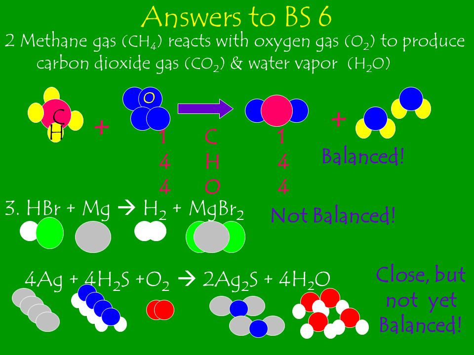 Answers to BS 6 2 Methane gas (CH 4 ) reacts with oxygen gas (O 2 ) to produce carbon dioxide gas (CO 2 ) & water vapor (H 2 O) + + 1 C1 4 H4 4 O4 C H