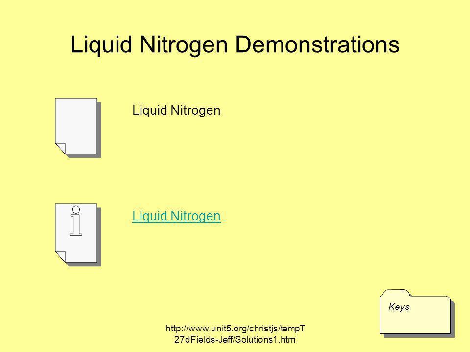 http://www.unit5.org/christjs/tempT 27dFields-Jeff/Solutions1.htm Liquid Nitrogen Demonstrations KeysKeys Liquid Nitrogen