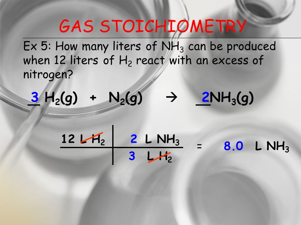 GAS STOICHIOMETRY If reactants and products are at the same conditions of temperature and pressure, then mole ratios of gases are also volume ratios.