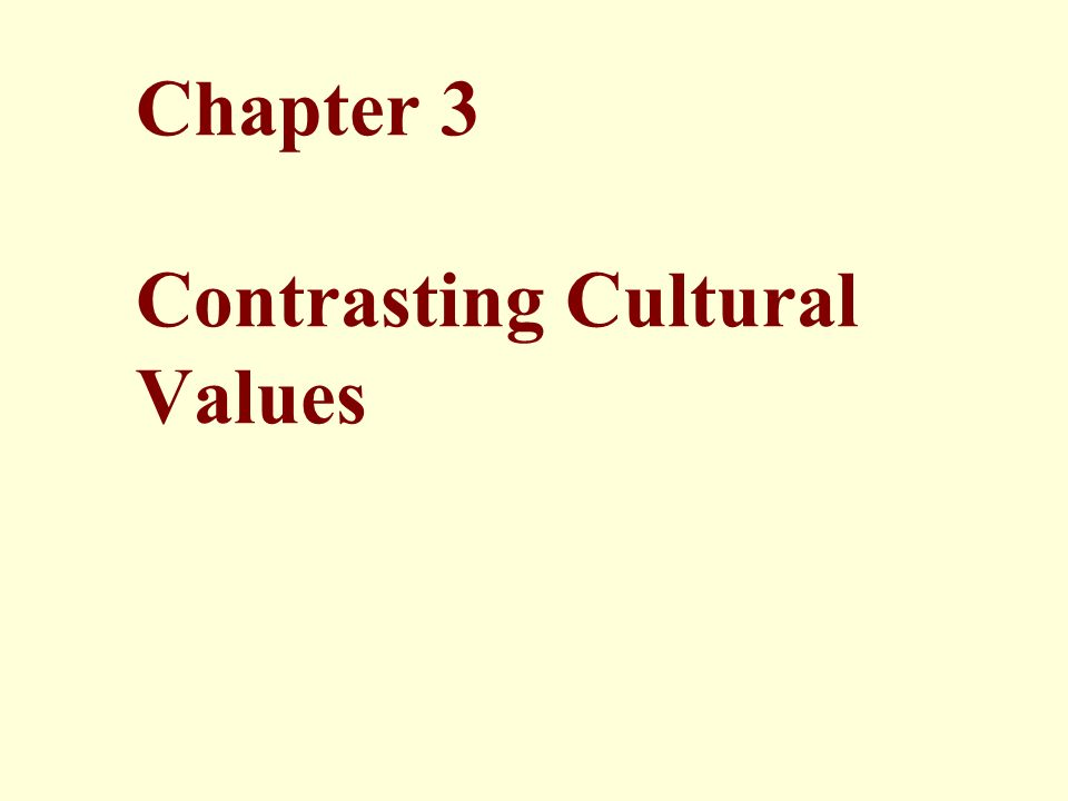 Chapter 3 Contrasting Cultural Values