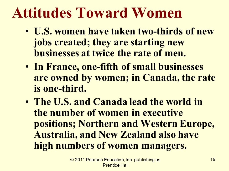 © 2011 Pearson Education, Inc. publishing as Prentice Hall 15 Attitudes Toward Women U.S. women have taken two-thirds of new jobs created; they are st