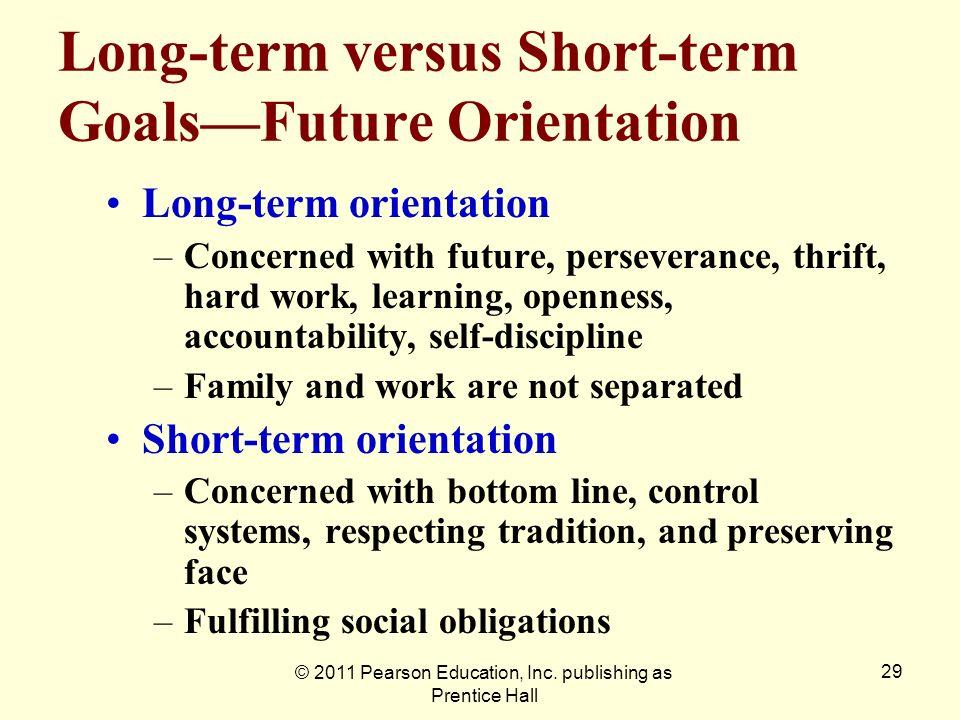 © 2011 Pearson Education, Inc. publishing as Prentice Hall 29 Long-term versus Short-term GoalsFuture Orientation Long-term orientation –Concerned wit