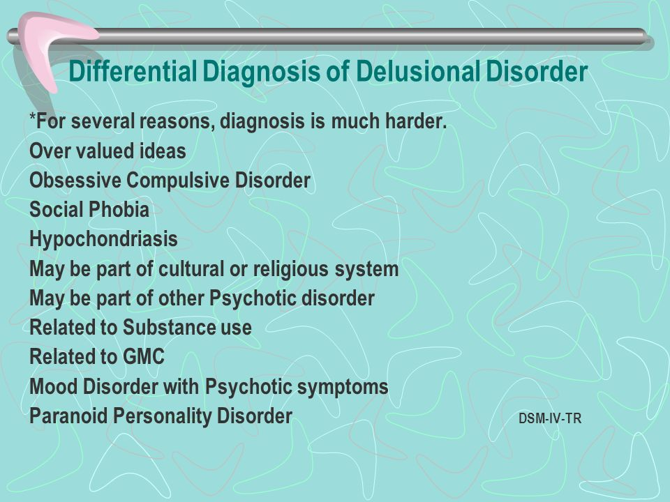 Differential Diagnosis of Delusional Disorder * For several reasons, diagnosis is much harder. Over valued ideas Obsessive Compulsive Disorder Social