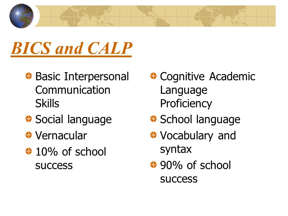 BICS and CALP Basic Interpersonal Communication Skills Social language Vernacular 10% of school success Cognitive Academic Language Proficiency School language Vocabulary and syntax 90% of school success