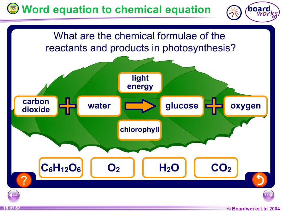 © Boardworks Ltd 2004 15 of 57 Word equation to chemical equation