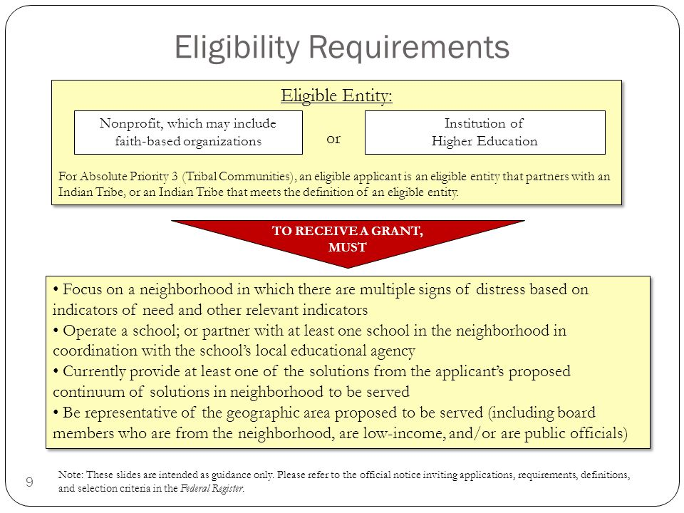 9 Eligibility Requirements MUST MUST, TO RECEIVE A GRANT Eligible Entity: For Absolute Priority 3 (Tribal Communities), an eligible applicant is an eligible entity that partners with an Indian Tribe, or an Indian Tribe that meets the definition of an eligible entity.