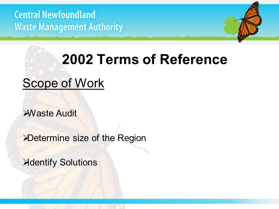 2002 Terms of Reference Scope of Work Waste Audit Determine size of the Region Identify Solutions