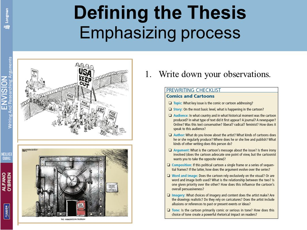 Defining the Thesis Emphasizing process 1.Write down your observations.