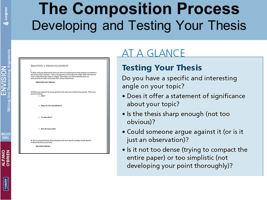 The Composition Process Developing and Testing Your Thesis