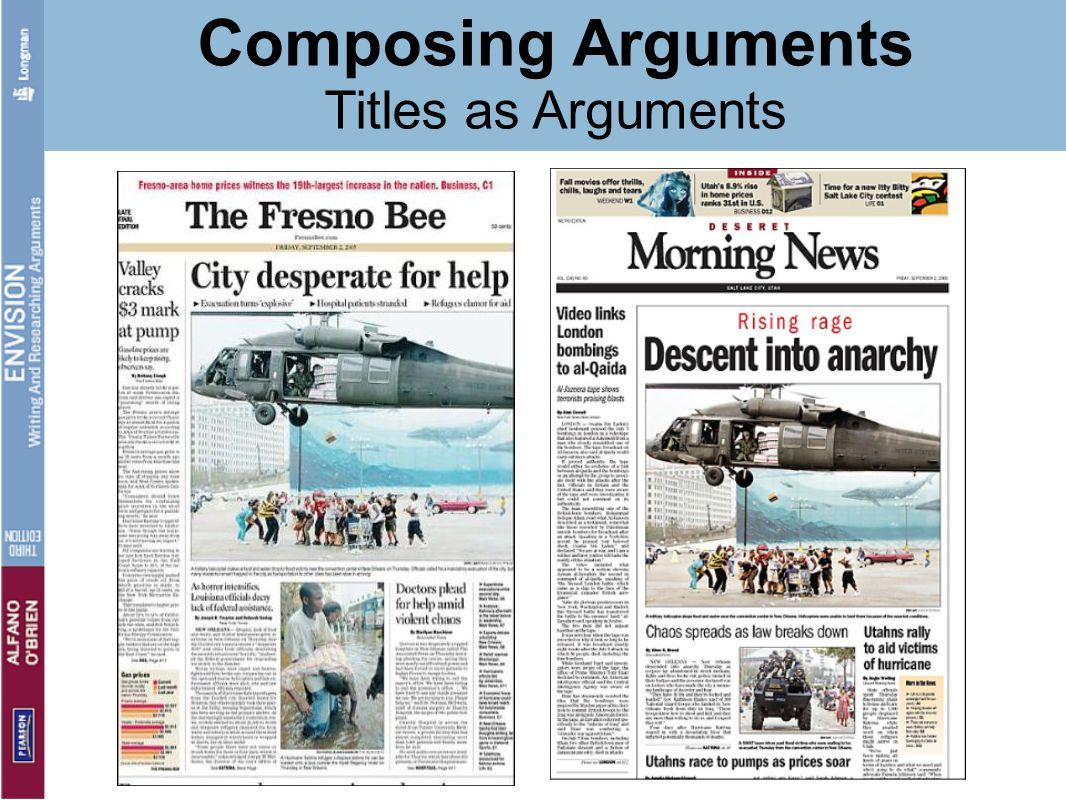 Composing Arguments Titles as Arguments