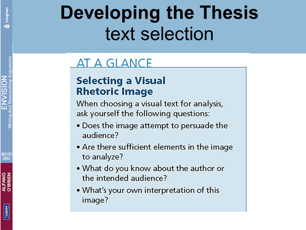 Developing the Thesis text selection