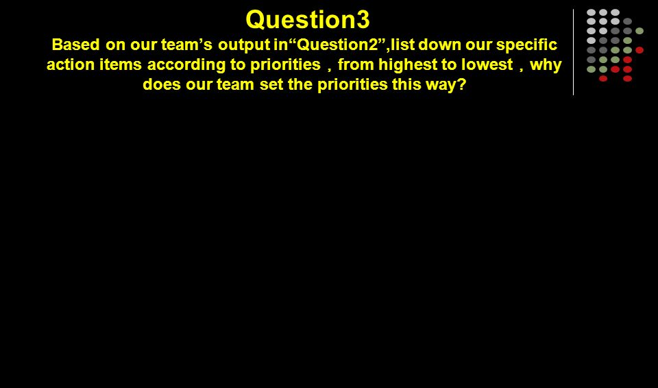 Question3 Based on our teams output inQuestion2,list down our specific action items according to priorities from highest to lowest why does our team set the priorities this way