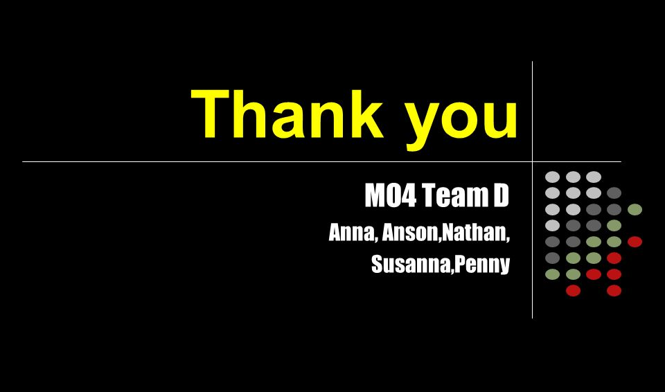 Thank you MO4 Team D Anna, Anson,Nathan, Susanna,Penny