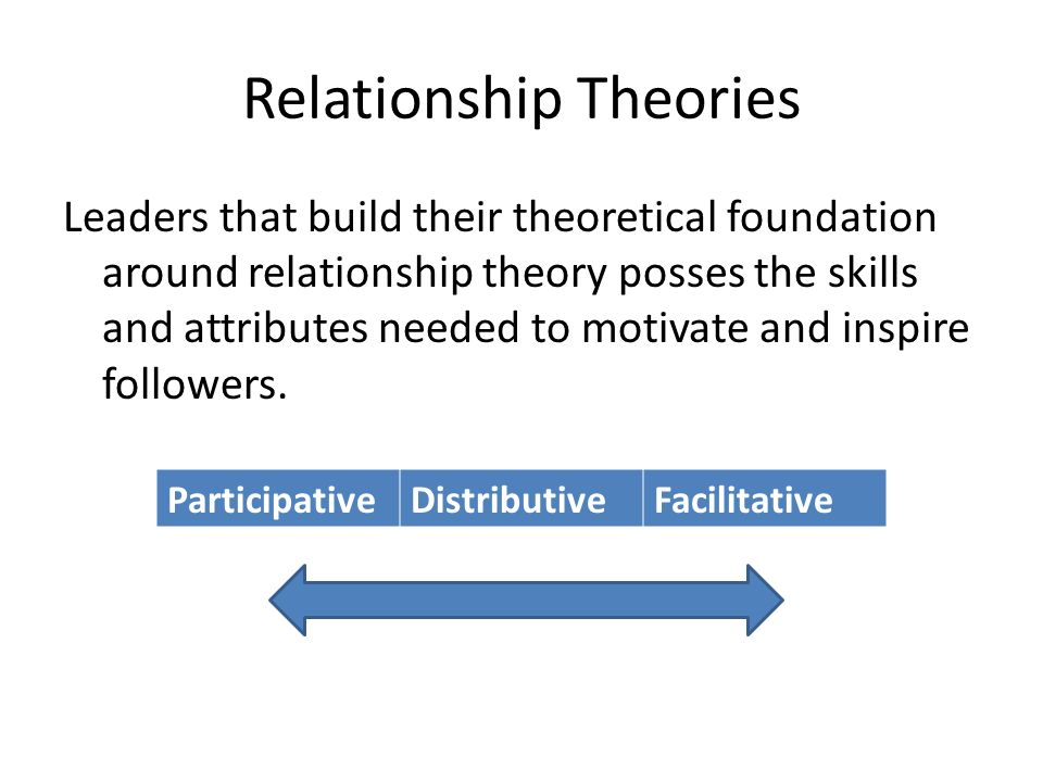 Relationship Theories Leaders that build their theoretical foundation around relationship theory posses the skills and attributes needed to motivate a