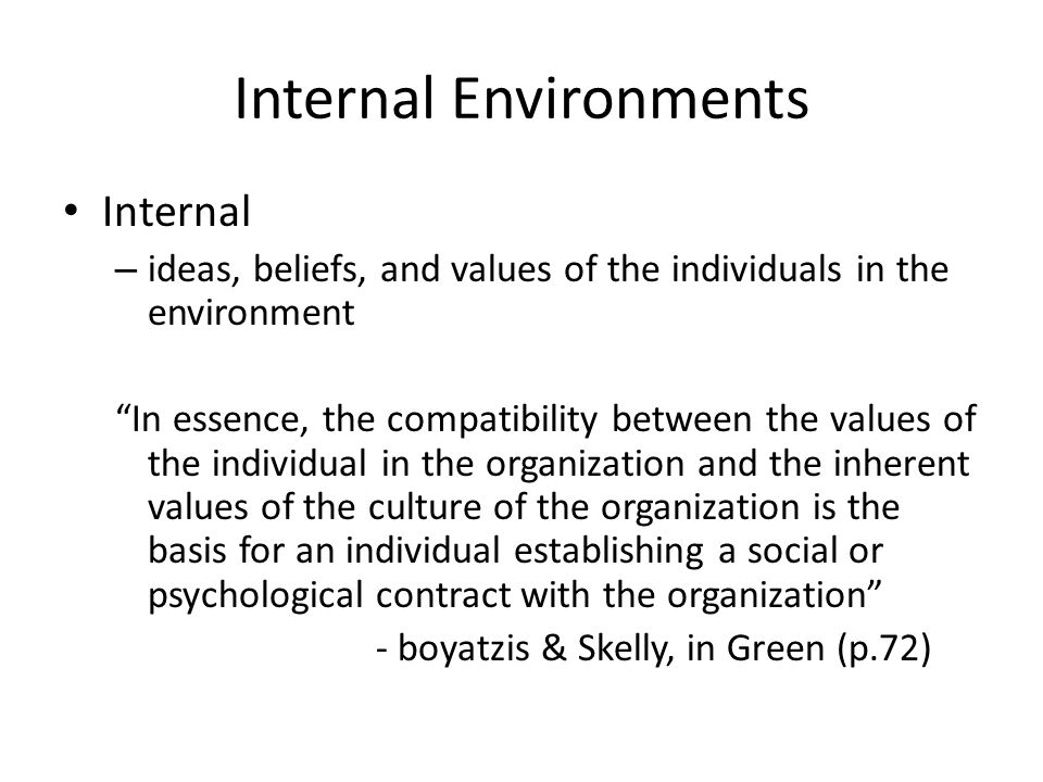 Internal Environments Internal – ideas, beliefs, and values of the individuals in the environment In essence, the compatibility between the values of