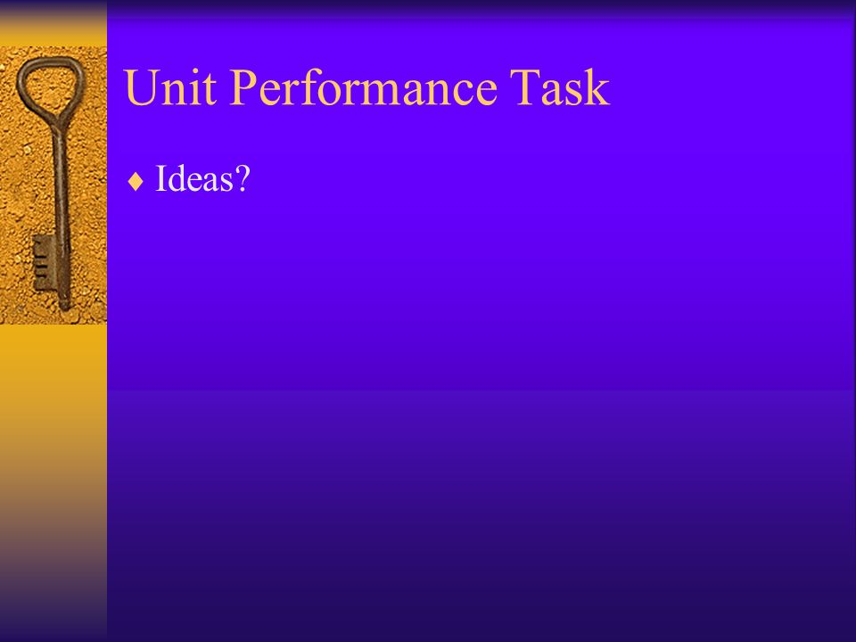 Unit Performance Task Ideas