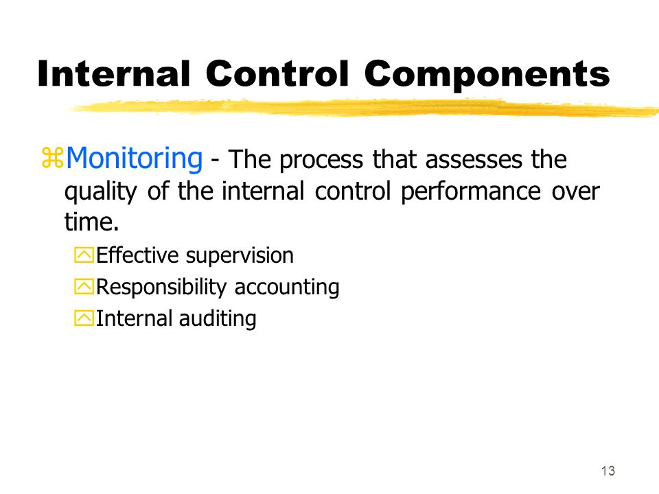 12 Internal Control Components zInformation and Communication - This area deals with the identification, capture, and exchange of information in a form and time frame that enable people to carry out their responsibilities.