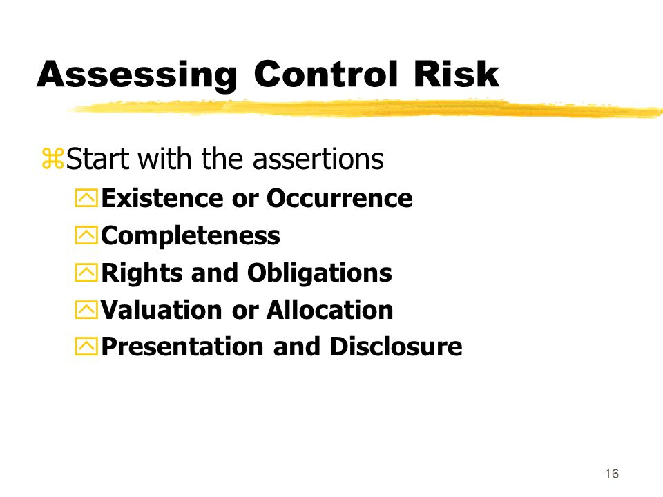 15 Internal Control Risk zRt = IR x CR x DR zSAS No.