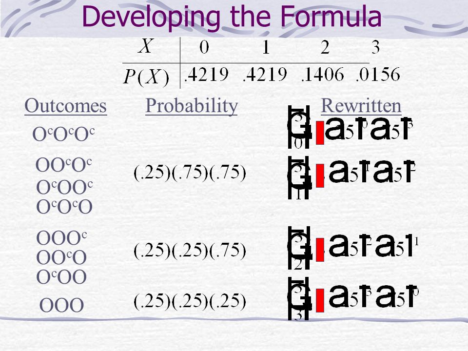 Developing the Formula OutcomesProbabilityRewritten OcOcOcOcOcOc OO c O c O c OO c OcOcOOcOcO OOO c OO c O O c OO OOO