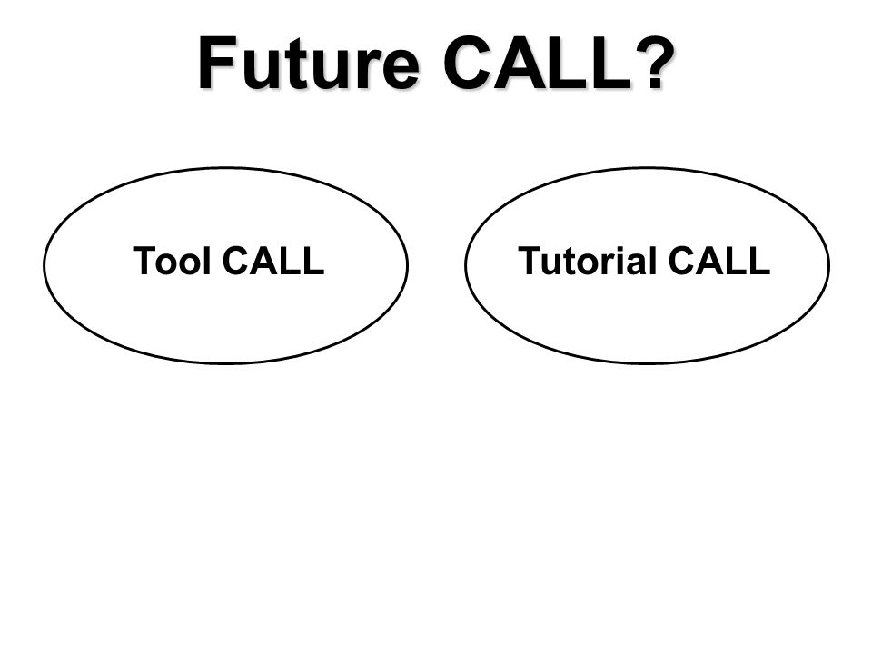 Future CALL? Tool CALLTutorial CALL