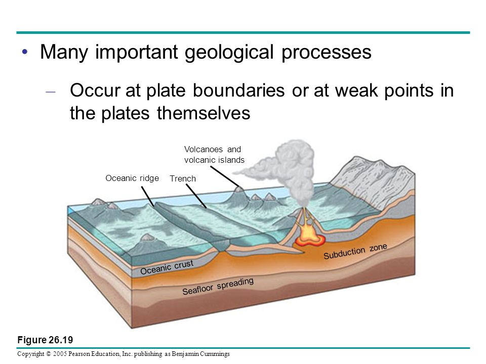 Copyright © 2005 Pearson Education, Inc. publishing as Benjamin Cummings Many important geological processes – Occur at plate boundaries or at weak po