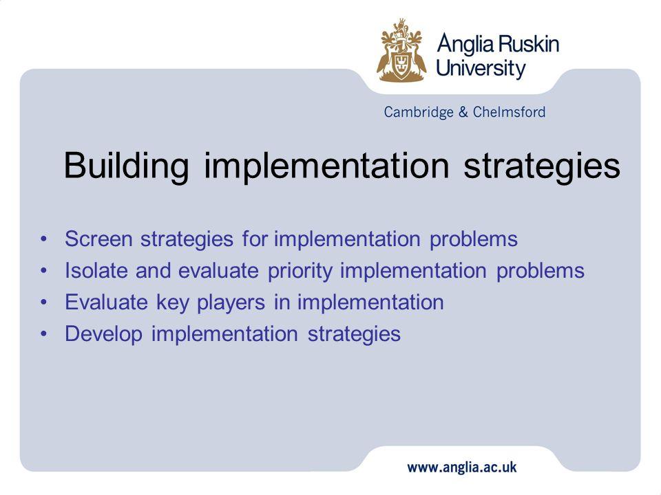 Building implementation strategies Screen strategies for implementation problems Isolate and evaluate priority implementation problems Evaluate key pl