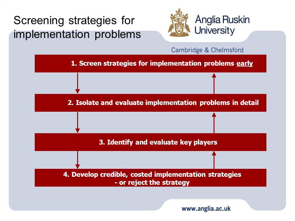 Screening strategies for implementation problems 1. Screen strategies for implementation problems early 2. Isolate and evaluate implementation problem