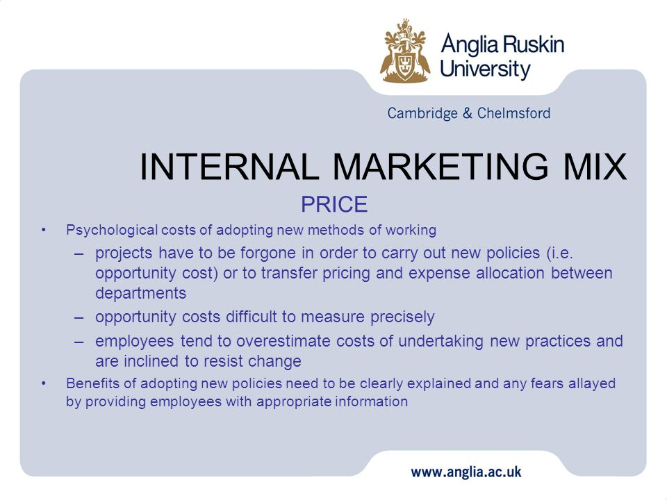 INTERNAL MARKETING MIX PRICE Psychological costs of adopting new methods of working –projects have to be forgone in order to carry out new policies (i