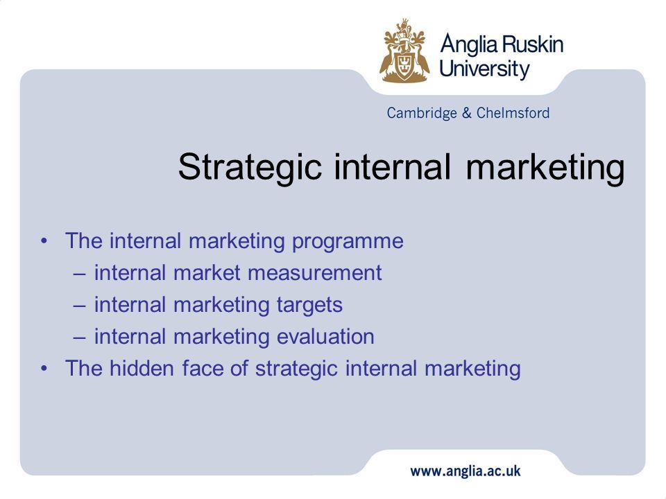 Strategic internal marketing The internal marketing programme –internal market measurement –internal marketing targets –internal marketing evaluation