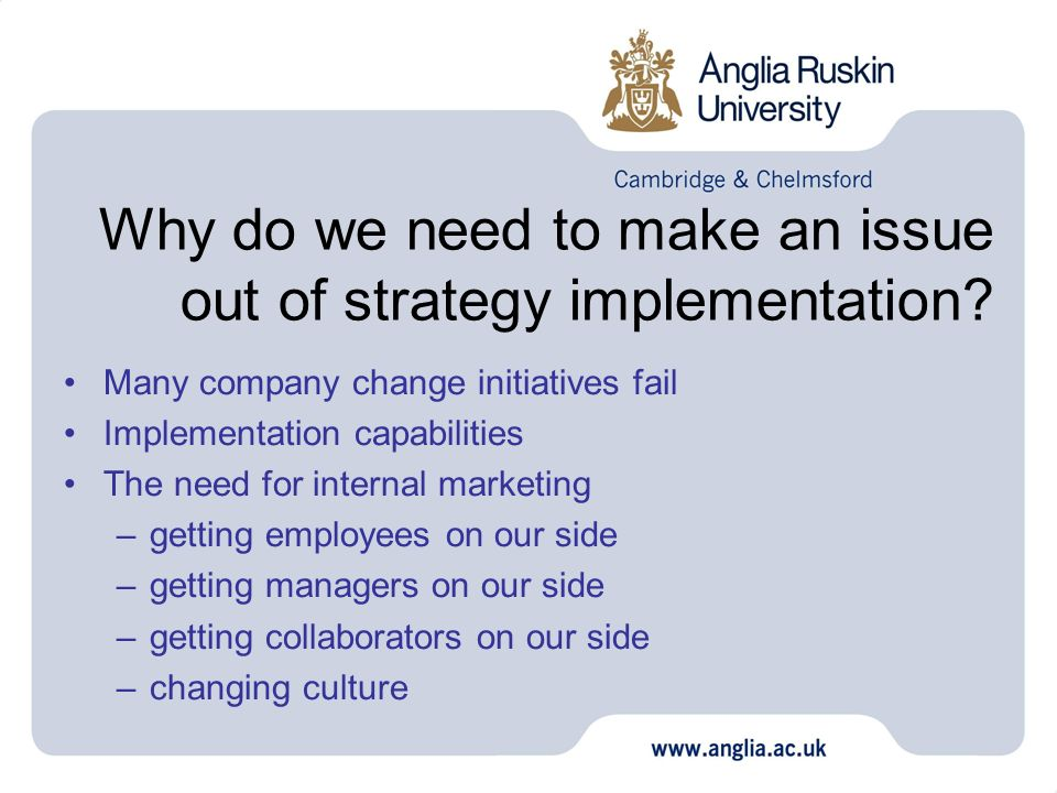 Why do we need to make an issue out of strategy implementation? Many company change initiatives fail Implementation capabilities The need for internal