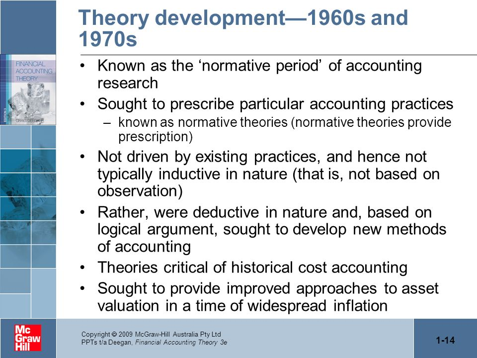 1-14 Copyright 2009 McGraw-Hill Australia Pty Ltd PPTs t/a Deegan, Financial Accounting Theory 3e Theory development1960s and 1970s Known as the norma