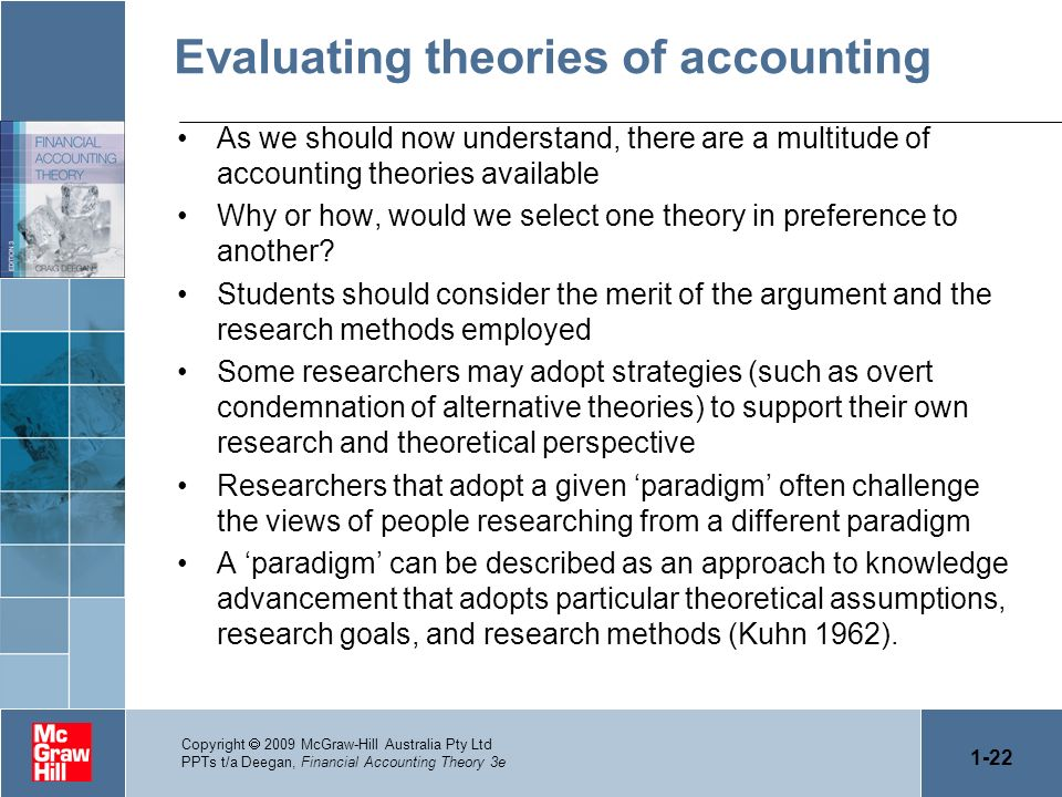 1-22 Copyright 2009 McGraw-Hill Australia Pty Ltd PPTs t/a Deegan, Financial Accounting Theory 3e Evaluating theories of accounting As we should now u