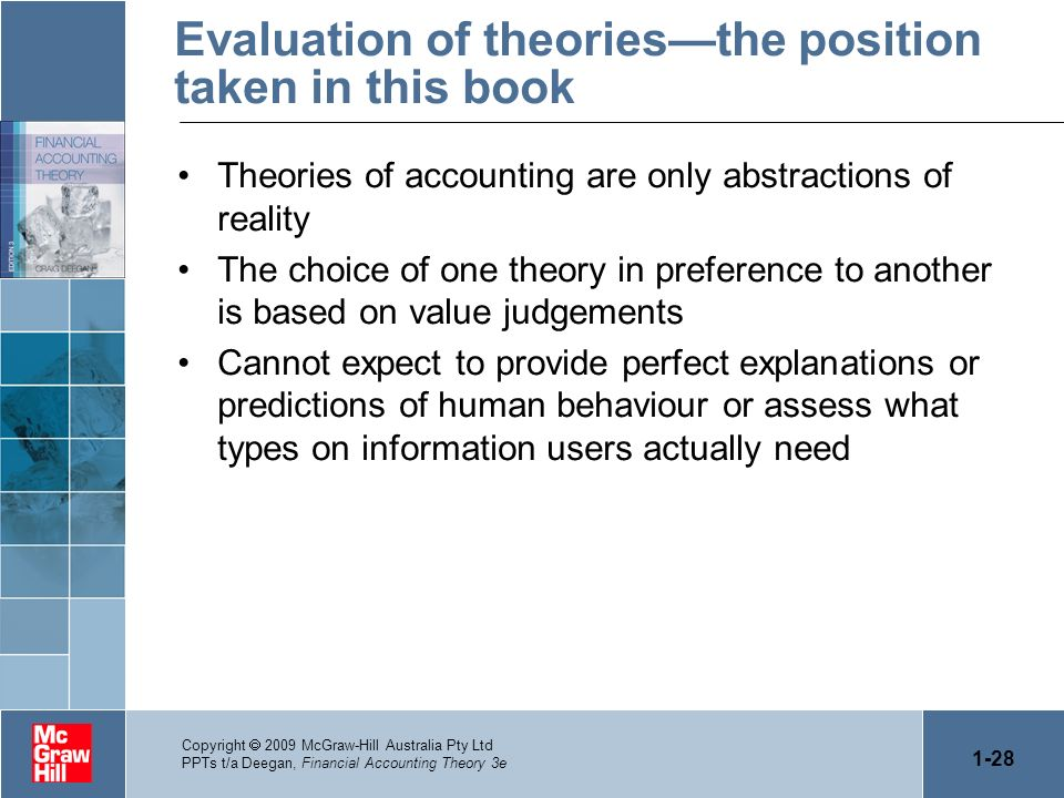 1-28 Copyright 2009 McGraw-Hill Australia Pty Ltd PPTs t/a Deegan, Financial Accounting Theory 3e Evaluation of theoriesthe position taken in this boo