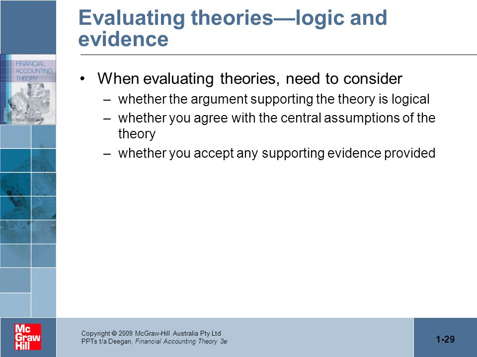 1-29 Copyright 2009 McGraw-Hill Australia Pty Ltd PPTs t/a Deegan, Financial Accounting Theory 3e Evaluating theorieslogic and evidence When evaluatin