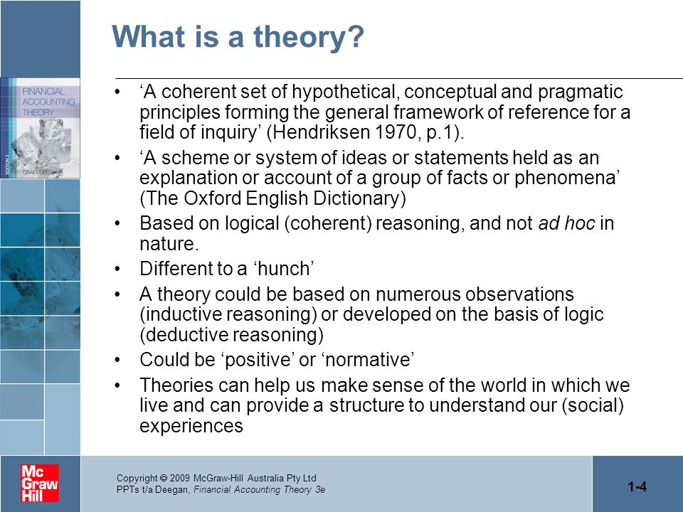 1-4 Copyright 2009 McGraw-Hill Australia Pty Ltd PPTs t/a Deegan, Financial Accounting Theory 3e What is a theory? A coherent set of hypothetical, con