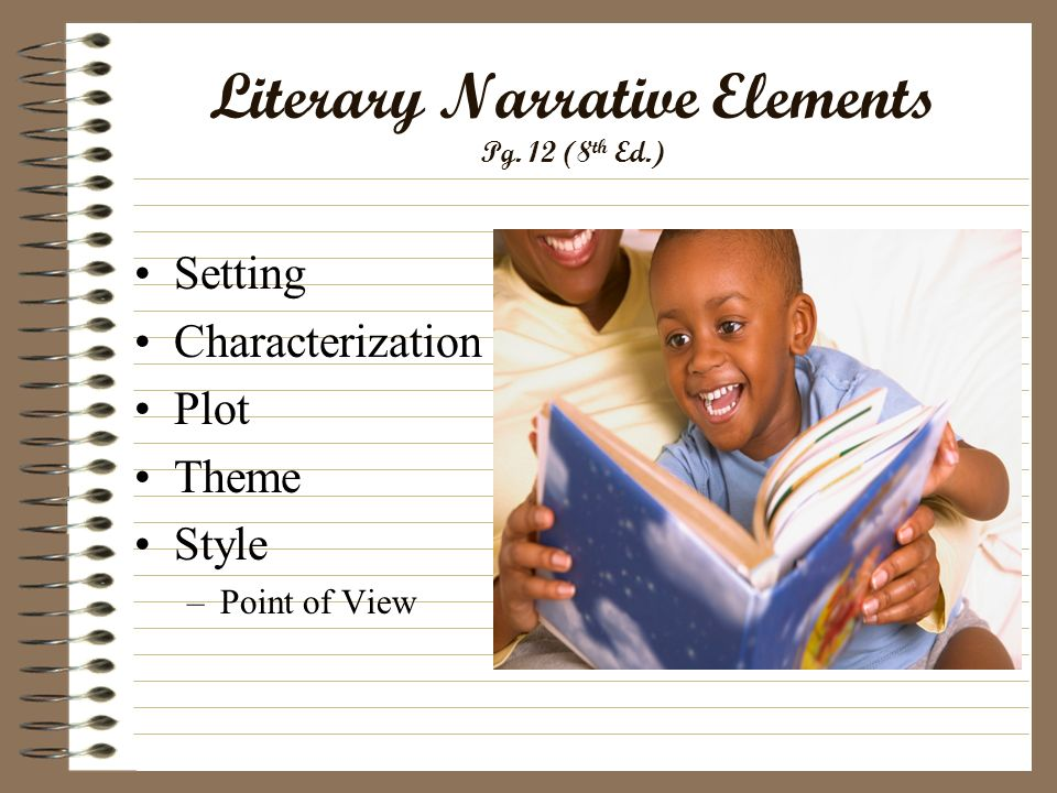 Literary Narrative Elements Pg. 12 (8 th Ed.) Setting Characterization Plot Theme Style –Point of View