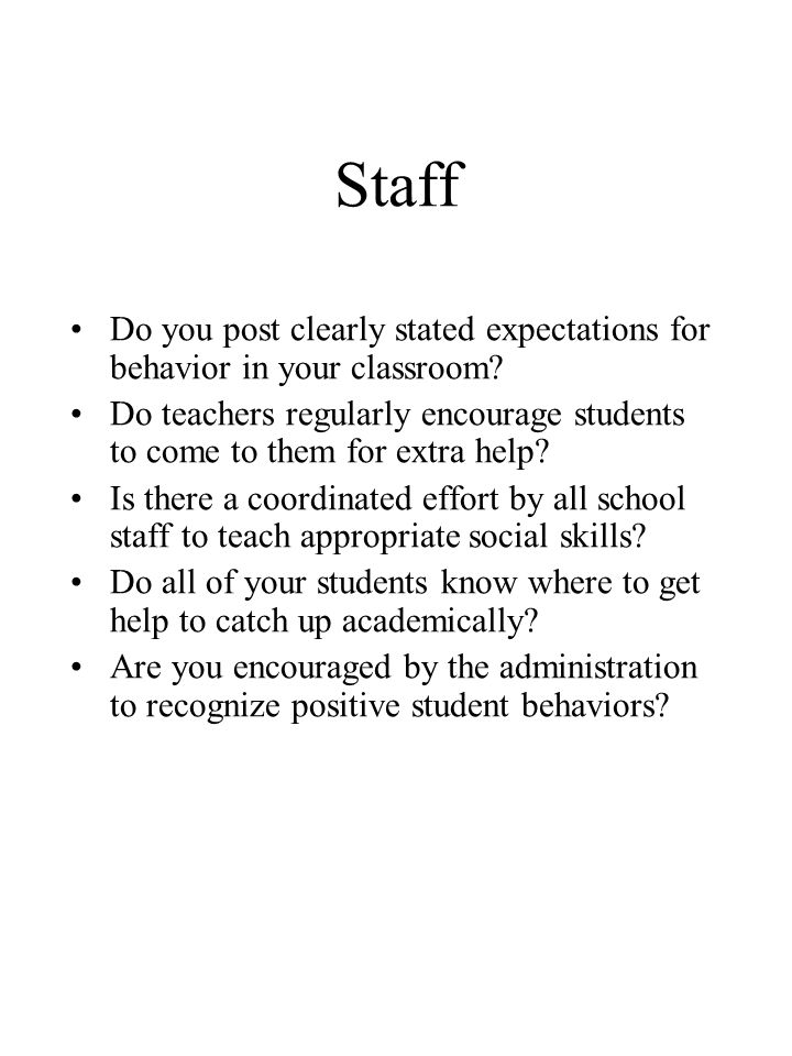 Staff Do you post clearly stated expectations for behavior in your classroom.