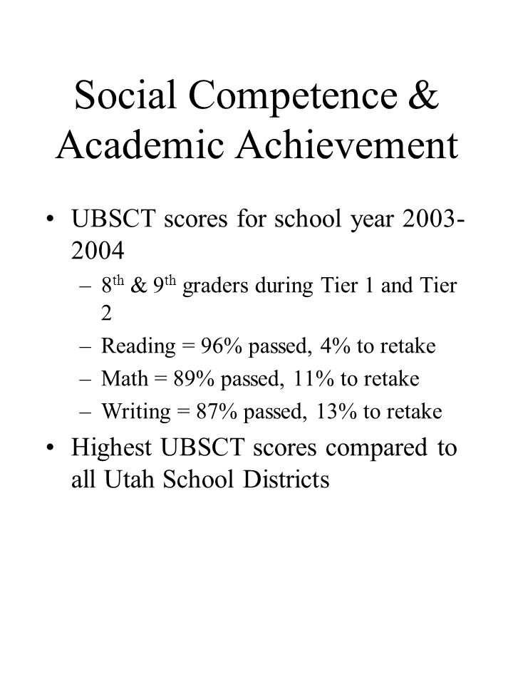 Social Competence & Academic Achievement UBSCT scores for school year 2003- 2004 –8 th & 9 th graders during Tier 1 and Tier 2 –Reading = 96% passed, 4% to retake –Math = 89% passed, 11% to retake –Writing = 87% passed, 13% to retake Highest UBSCT scores compared to all Utah School Districts
