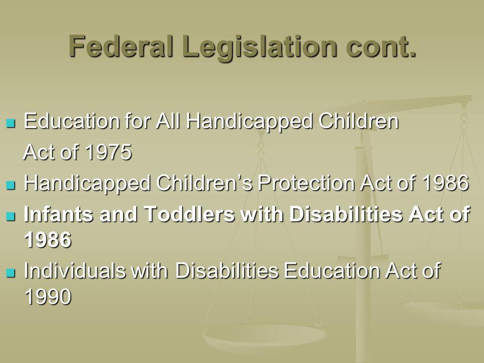 Federal Legislation cont. Education for All Handicapped Children Education for All Handicapped Children Act of 1975 Act of 1975 Handicapped Childrens