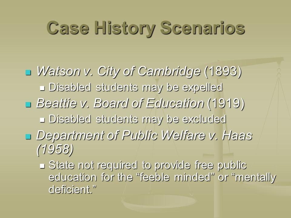 Case History Scenarios Watson v. City of Cambridge (1893) Watson v. City of Cambridge (1893) Disabled students may be expelled Disabled students may b