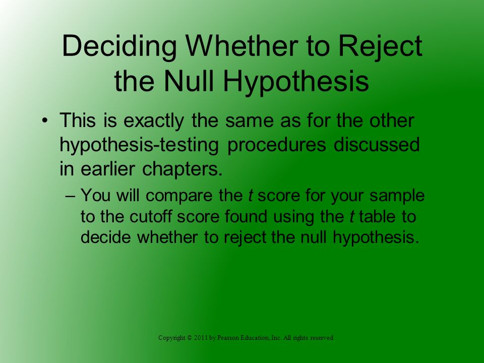 Copyright © 2011 by Pearson Education, Inc. All rights reserved Deciding Whether to Reject the Null Hypothesis This is exactly the same as for the oth