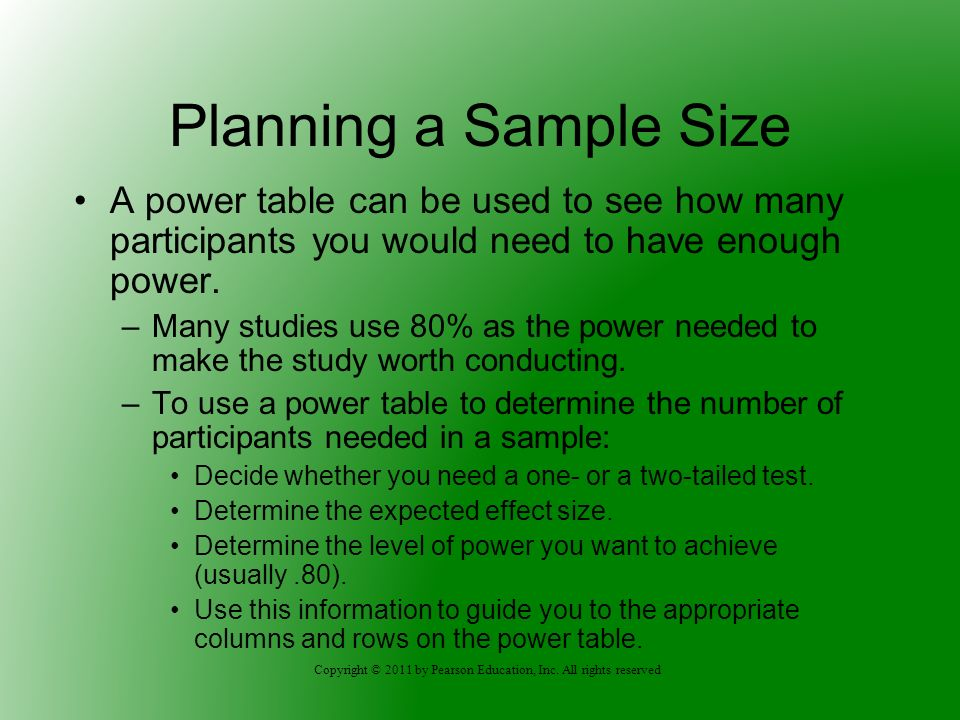 Copyright © 2011 by Pearson Education, Inc. All rights reserved Planning a Sample Size A power table can be used to see how many participants you woul