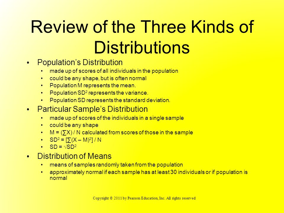 Copyright © 2011 by Pearson Education, Inc. All rights reserved Review of the Three Kinds of Distributions Populations Distribution made up of scores